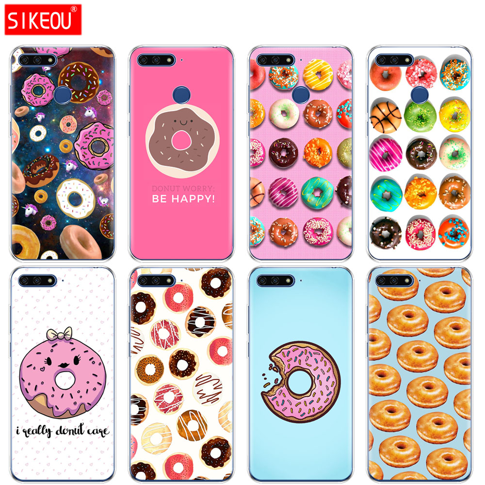<font><b>Silicone</b></font> Cover Phone <font><b>Case</b></font> For <font><b>Huawei</b></font> Honor 7A PRO 7C Y5 <font><b>Y6</b></font> Y7 Y9 2017 <font><b>2018</b></font> Prime Cute Donut Sweet image