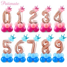hot deal buy patimate letter number balloons foil children's birthday balloons air party round number ballons accessories baby shower decor