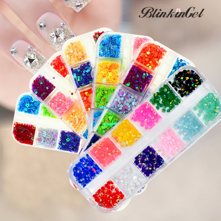 BlinkinGel 3D Acrylic Gems Flat Back Round Nail Art Glitter Paillette Crystal Gems for Nails Art Christmas Glitter Plaksteen 500pcs bag 13 18mm flat back oval shape acrylic rhinestones acrylic plastic 3d nail art garment jewelry rhinestone