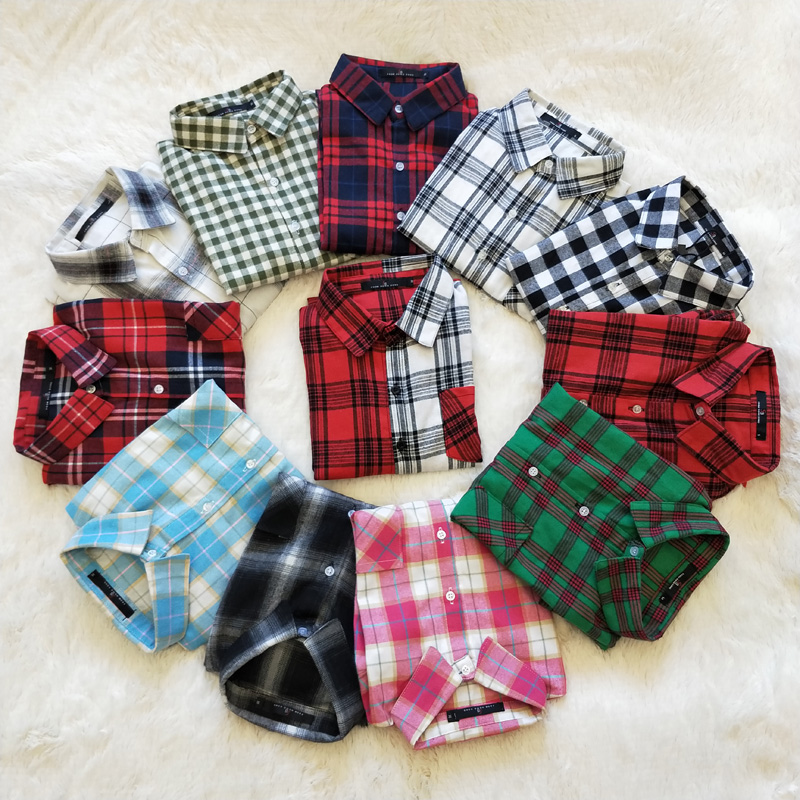 Free shipping Size S-3XL 2019 Autumn sanded Long-sleeve Plaid Shirt - Women's Clothing