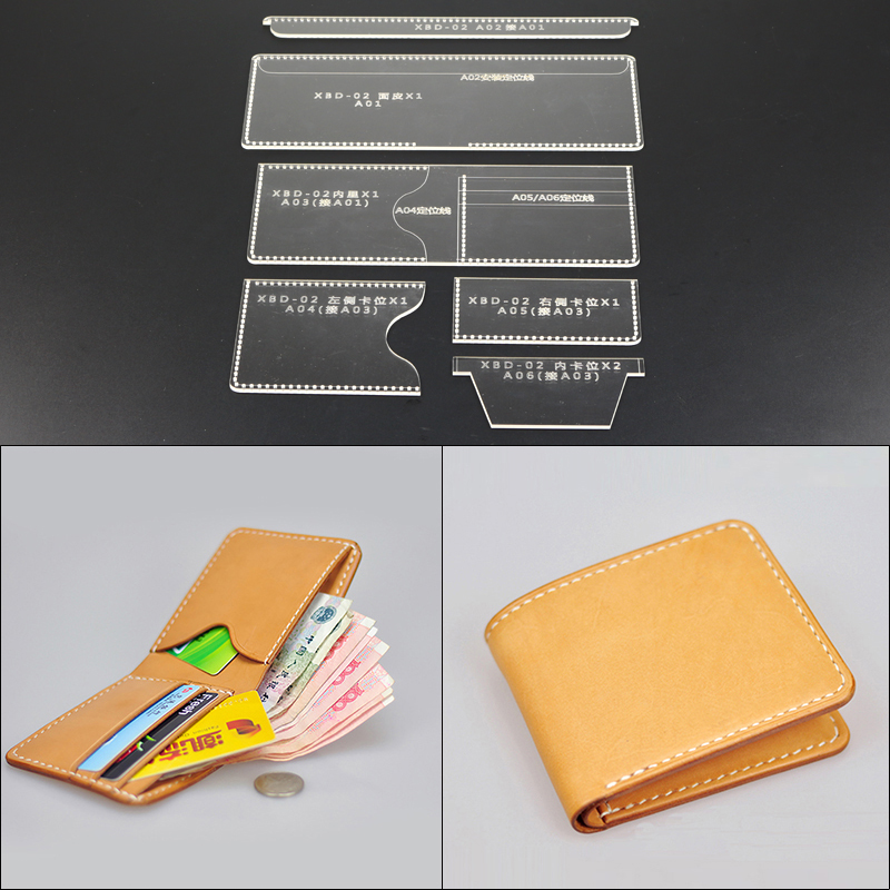 1set DIY Folded Small Short Leather Wallet Acrylic Leather Template Leathercraft Sewing Pattern Accessories 9.5*11*2cm