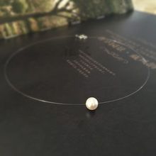 Fashion Invisible Crystal Fish Line White Simulated Pearl Pendant Necklace For Women Classic Pearl Choker Necklaces Collier B041(China)