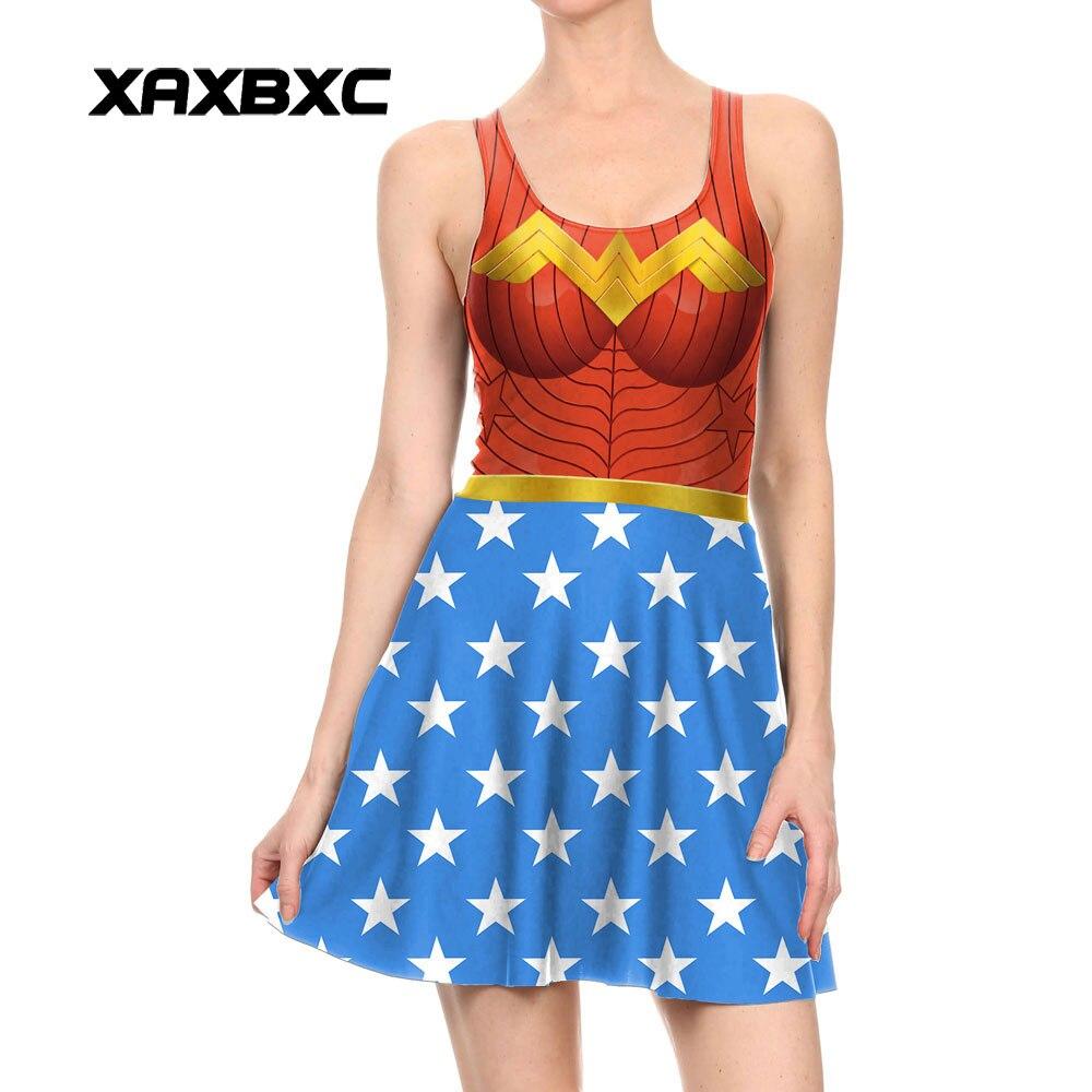 Xaxbxc 1112 модная летняя сексуальная девушка платье с коротким и широким подолом чудо-женщина комиксов 3D принты эластичный жилет Для женщин пли...