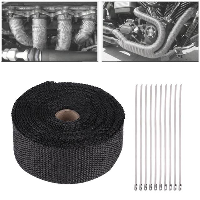 pipe wrap tape 16ft length black high heat insulation exhaust pipe wrap tape