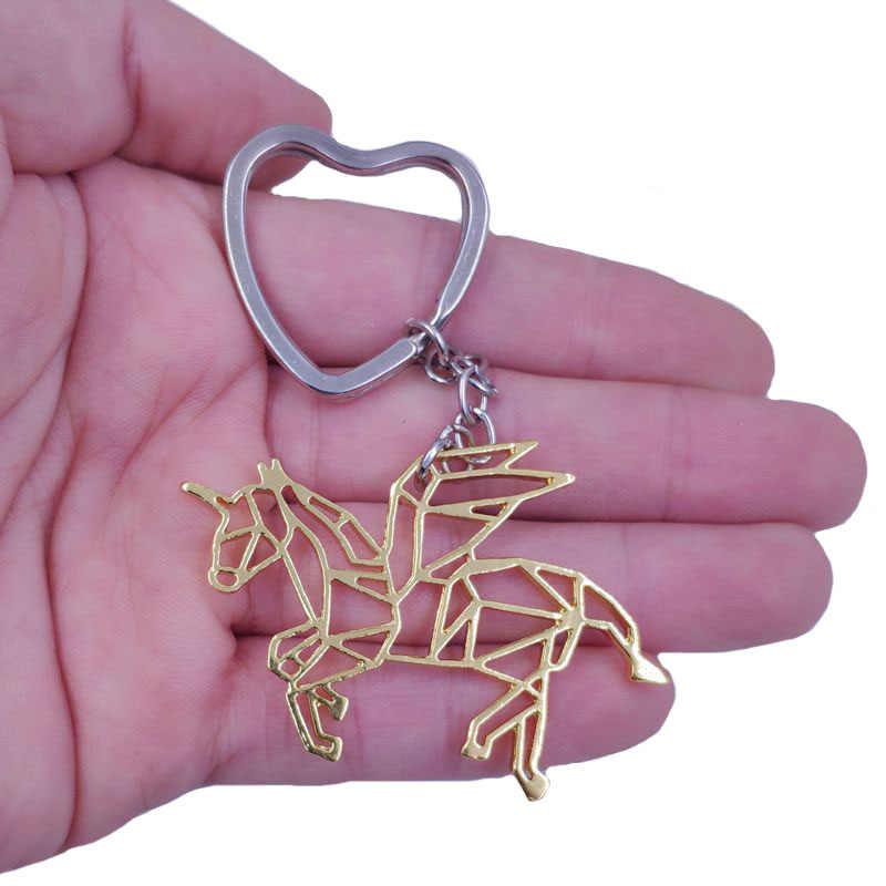 2019 يونيكورن الحصان الذهب الفضة مطلي قلادة حديدية المفاتيح ل حقيبة سيارة النساء الرجال الذكور الإناث حلقة رئيسية الحب مجوهرات