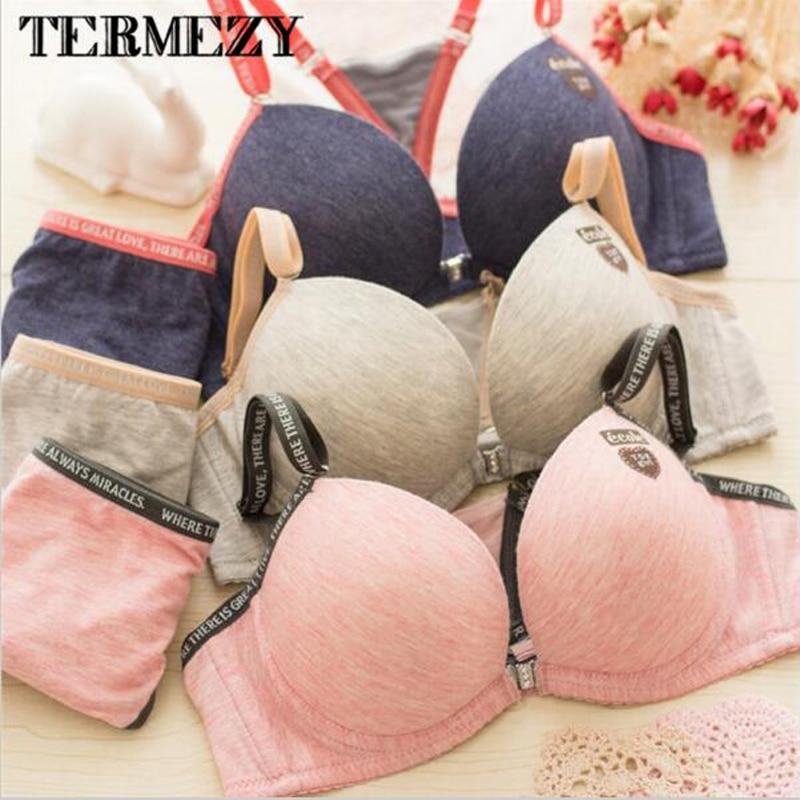 Fashion Cotton sexy Front Closure deep v bra Sets Seamless Push up Adjustable 3/4 Cup Bra & Comfortable Panties Sets