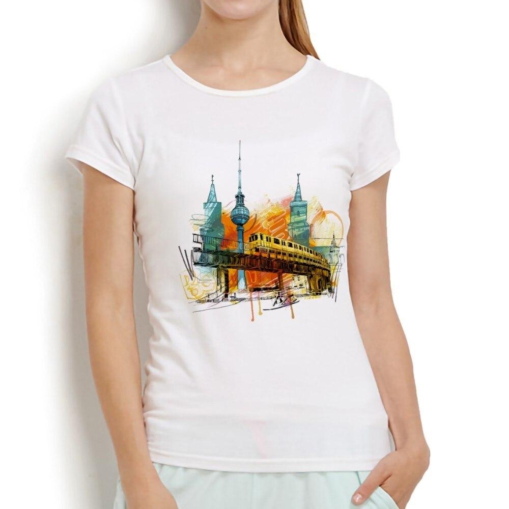 Německo Berlín město akvarel design bez lepidla sublimace tisk t košile ženy nový bílý ležérní tričko Krátký rukáv Tshirt femme