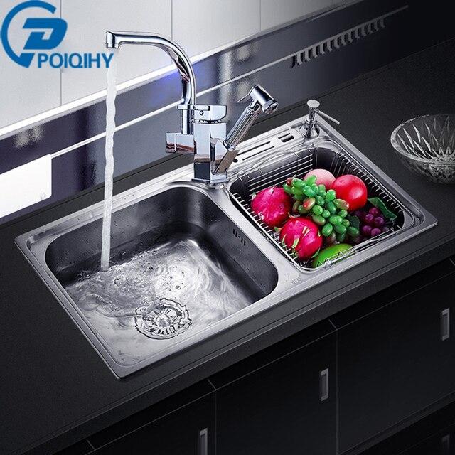 US $304.06 40% OFF|POIQIHY 304 Edelstahl Küche Waschbecken Deck Montiert  mit Seife Dispenser Waschen Gemüse/Schüssel Dual Waschbecken Küche ...