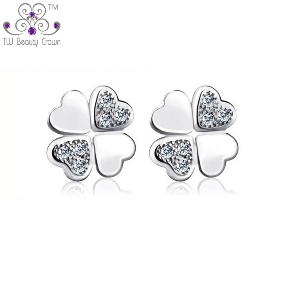 FLEUR 4-leaf clover 925 Sterling Argent MICRO-Inlay Zircone cubique stud earring