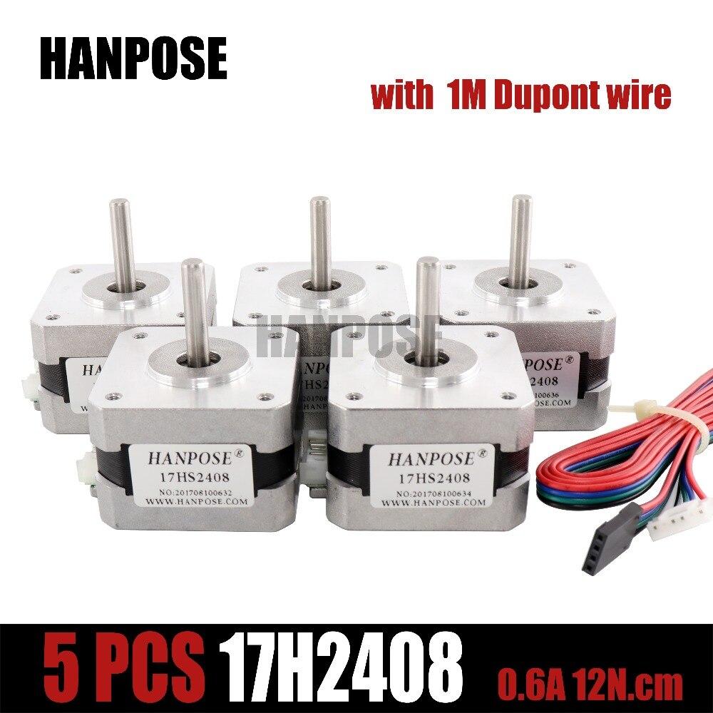 цена на 5pcs/lot 17HS2408 4-lead Nema17 Stepper Motor 42 motor 42BYGH 0.6A CE ROSH ISO CNC Laser and 3D printer