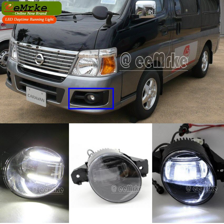 eeMrke Guiding Led DRL For NISSAN Caravan URVAN Bus E25 2007 2in1 LED Fog Lights With