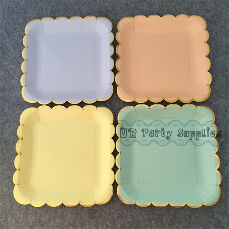 24pcs Gold Foil Disposale Wedding Paper Plates Solid Ligt Blue Pink Mint Yellow Color Gold Scallop Modern Chic Cocktail Plates-in Disposable Party Tableware ... & 24pcs Gold Foil Disposale Wedding Paper Plates Solid Ligt Blue Pink ...
