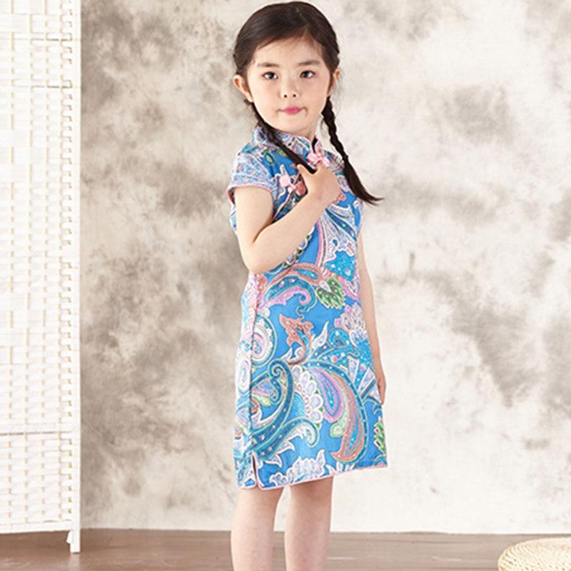 ПРИВЕТ БЛУМ Chidlren Подарок на день Лето Китайское Традиционное Платье Старинные Цветочные Девушки Платья Cheongsam Свадьбы Костюм