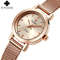 Top Brand Luxury Rose Gold Women Watches Ladies Quartz Analog Clock Women Steel Strap Casual Dress Watch WWOOR relogio feminino