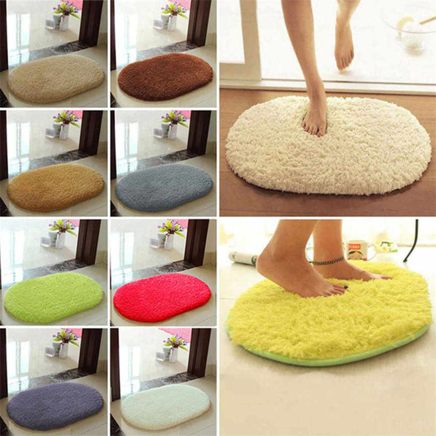 HOT sale Useful 30*40cm Anti-Skid Fluffy Shaggy Area Rug Home Bedroom Bathroom Floor Door Mat Dropshipping &