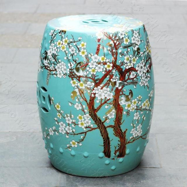 China Plum Blossom Painting Ceramic Drum Porcelain Garden Stool Glazed  Ceramic Ceramic Chinese Ceramic Stool