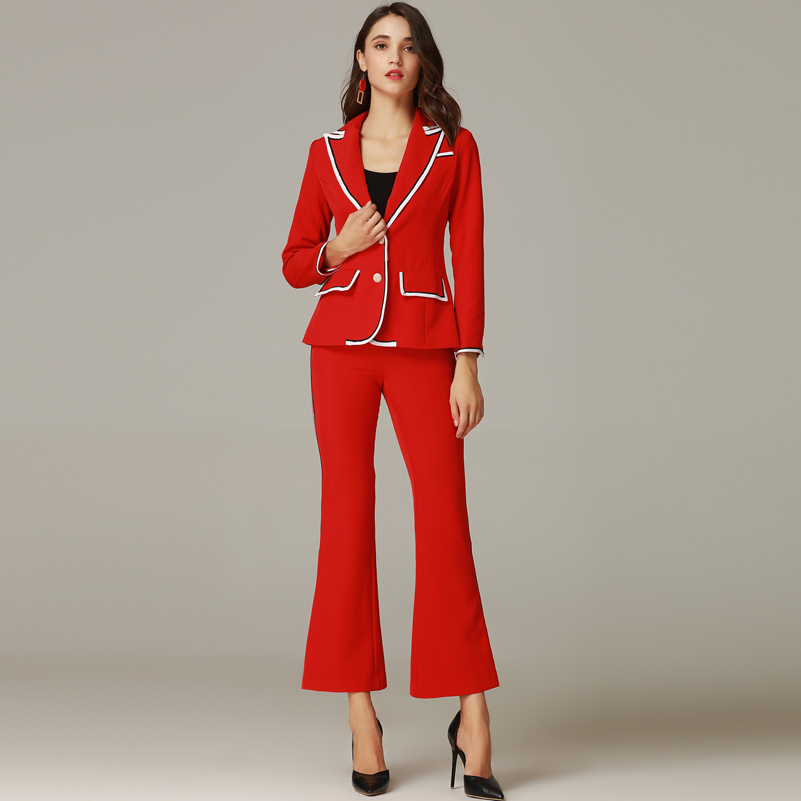 Bouton De Pièce Qian Mode Longues Rouge Piste Partie 2 Han Haute Ensemble Vintage Pantalon Manches Zi Manteau Set À Qualité Flare Femmes Costume 4xqFIO1q