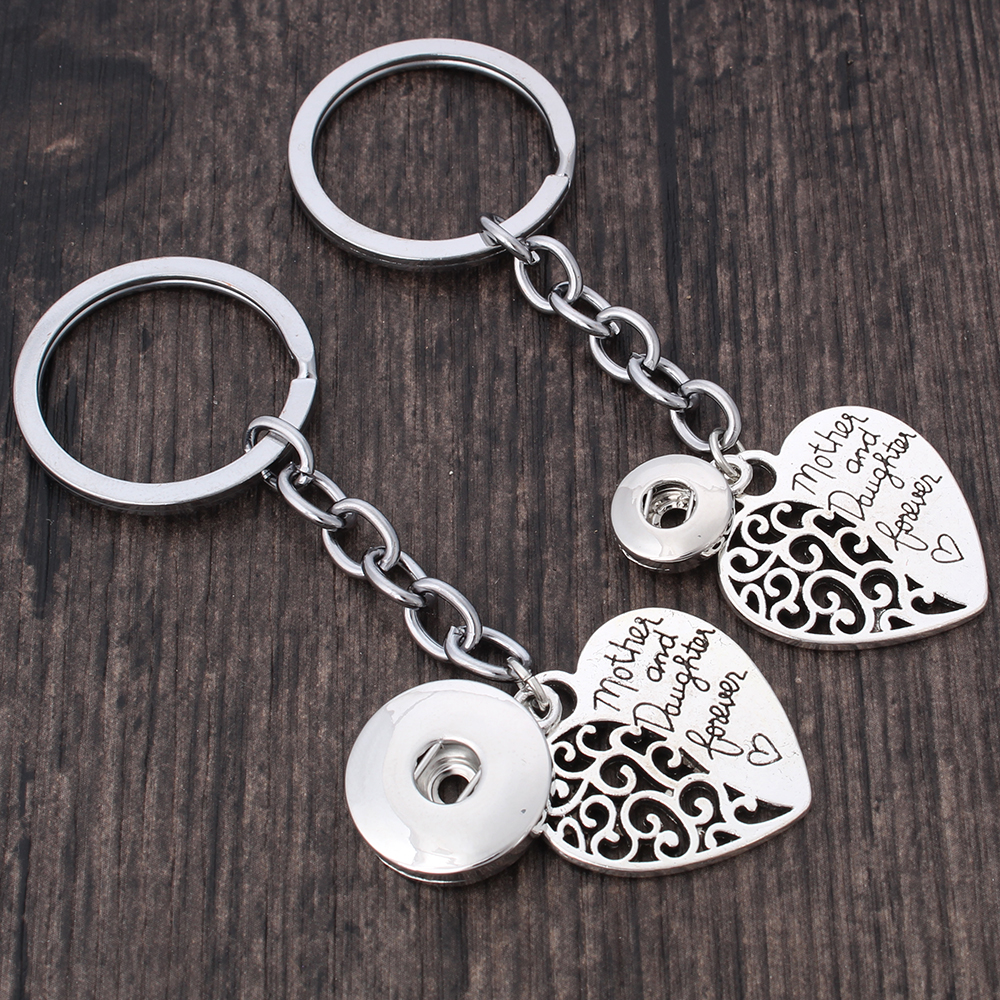2019 New Snap Jewelry Mother Daughter Forever Love Heart Bag Pendant Snap Key Chains Fit 12mm 18mm Snap Button Keyring For Women