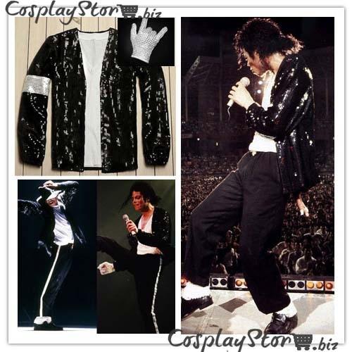 Michael Jackson Jacket and Glove Billie Jean Cosplay Costume