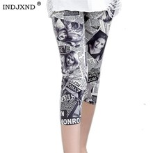 INDJXND, летние леггинсы с принтом, женские узкие брюки, повседневные, эластичная талия, с буквенным принтом, в полоску, короткие леггинсы, клетчатые, женские леггинсы