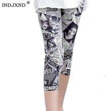 INDJXND Summer Print Seven Leggings Women Pencil Pants Casual Elastic Waist Letter Stripe Short Legging Plaid Female Leggins