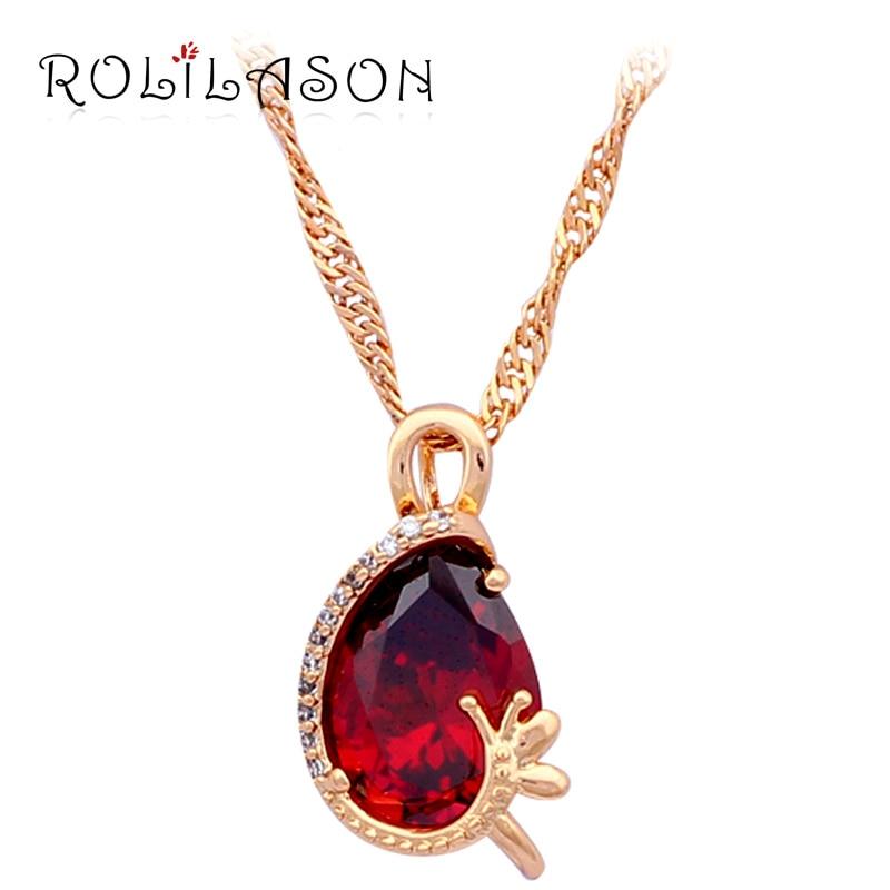 Anniversary Gift Beautiful Pink Crystal Gold tone Australia Zirconia necklaces & pendants fashion jewelry LN517
