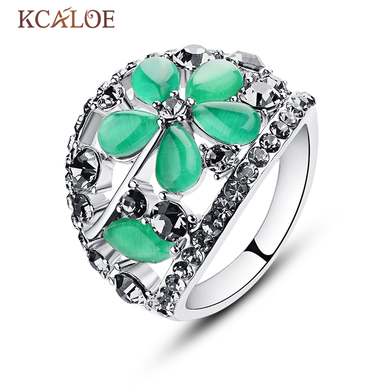 KCALOE Natural Green Stone Rings Women Anel Vintage Retro Gray Crystal Rhinestone Jewelry Hollow Flowers Waterdrop Opal Ring