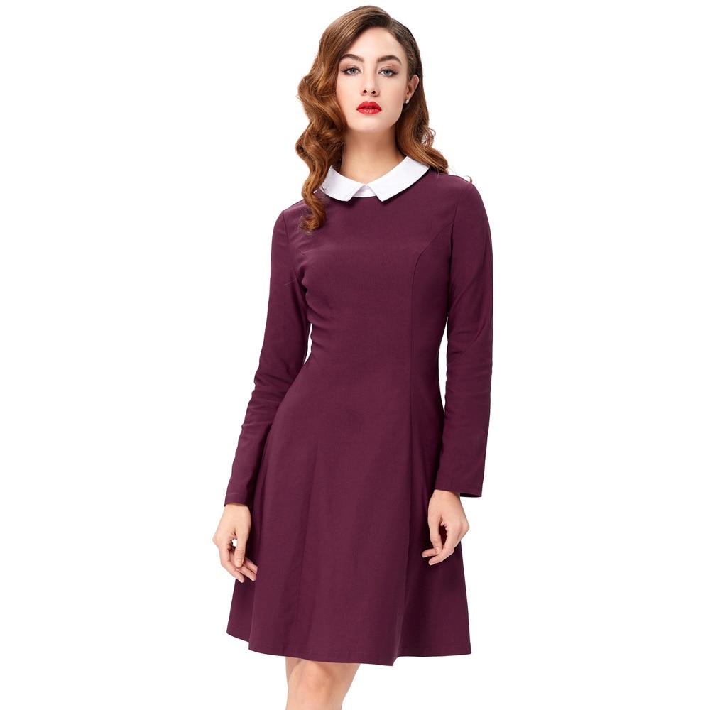 Robe à manches longues à manches longues à l'automne et à l'automne ( Couleur : Violet , taille : M )