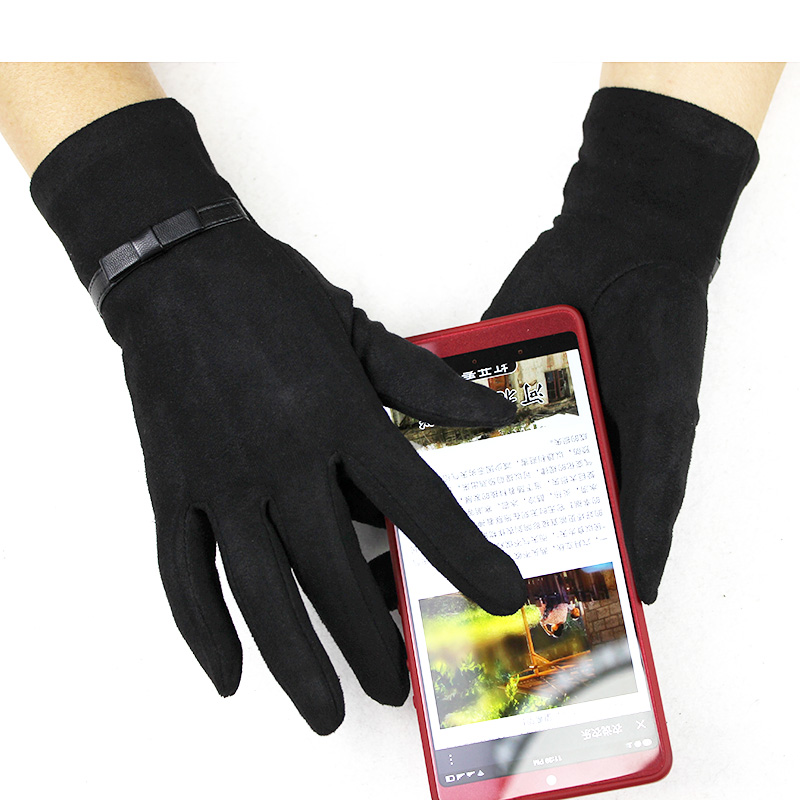 Suede Gloves Women's Thin Section Touch Screen Elastic Man-made Material Black Spring And Autumn Girls Finger Gloves
