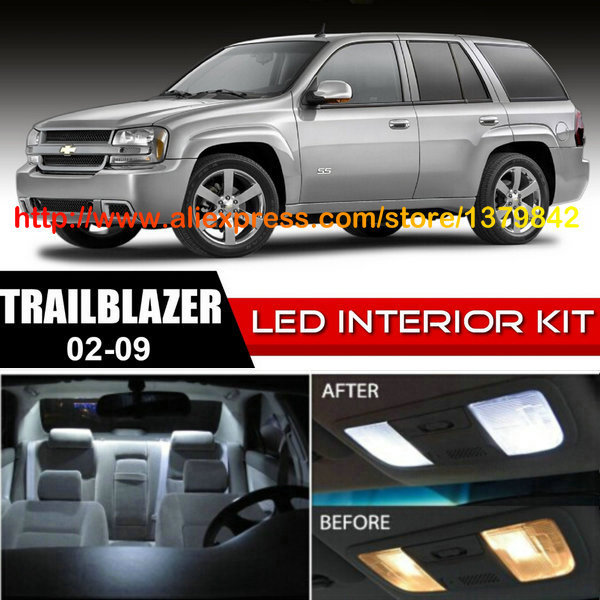 Free Shipping 16pcs Lot Car Styling Xenon White Canbus Package Kit Led Interior Lights For 02 09 Chevy Trailblazer