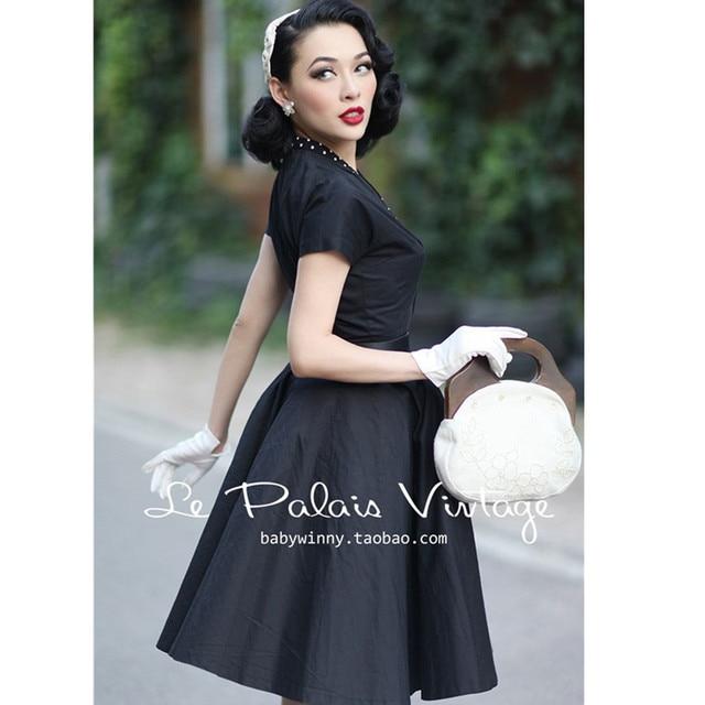 40- le palais vintage 50s Audrey Hepburn short sleeve swing shirt dress in  black rockabilly 4268d59ab84c