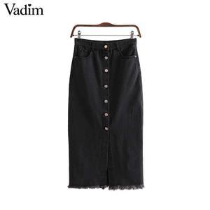 Image 1 - Vadim 女性のスタイリッシュなブラックデニムミディスカート段 faldas mujer タッセルボタンフライデザインポケット女性ソリッドシックなスカート BA606