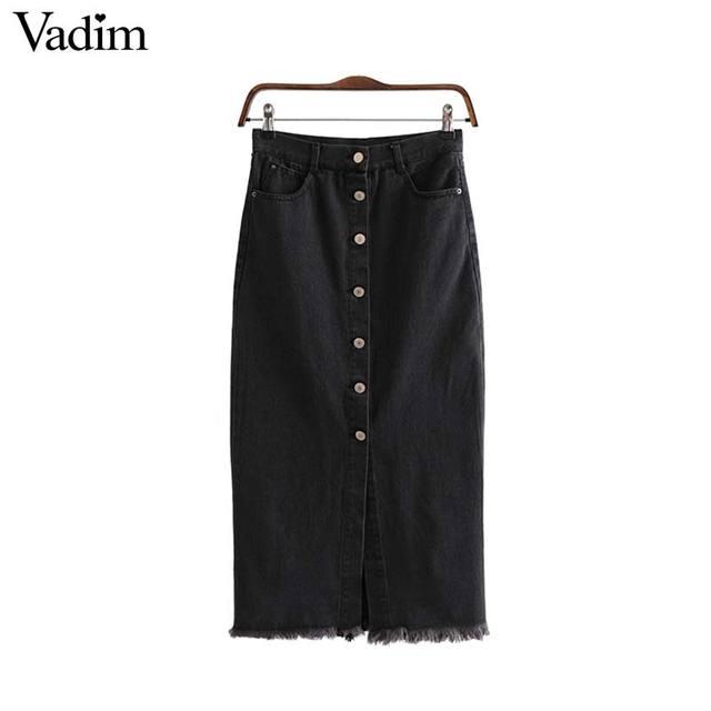 Vadim 女性のスタイリッシュなブラックデニムミディスカート段 faldas mujer タッセルボタンフライデザインポケット女性ソリッドシックなスカート BA606