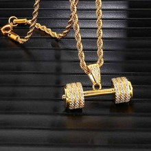 Iced Out Bling Rhinestone Rope Chain Barbell Gym Fitness Dumbbell Gold Color Hand Pendants &Necklaces For Men Hip Hop Jewelry
