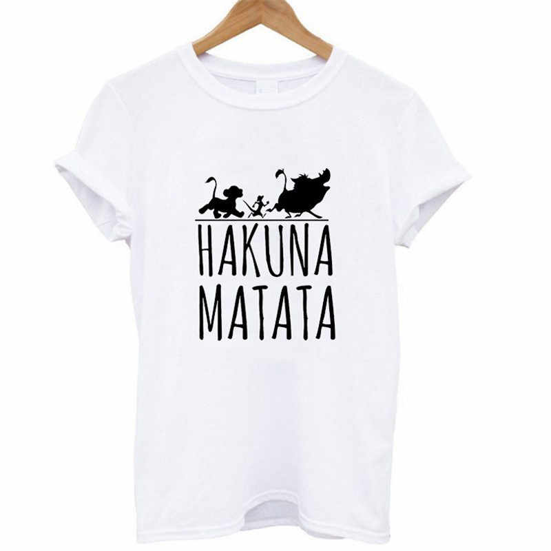 New Hot Bestie Shirts Woman Hakuna Matata Ullzang Lion King Print Leisure T-shirt Short Sleeve O Neck Tshirt