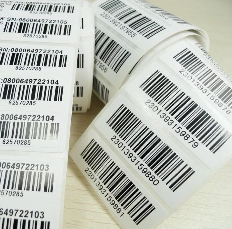 Custom 1000pcs/lot Sticker Printing Barcode EAN UPC bar code labels/serial numbers stickers,HD+any size,Shoe size, LOGO lables