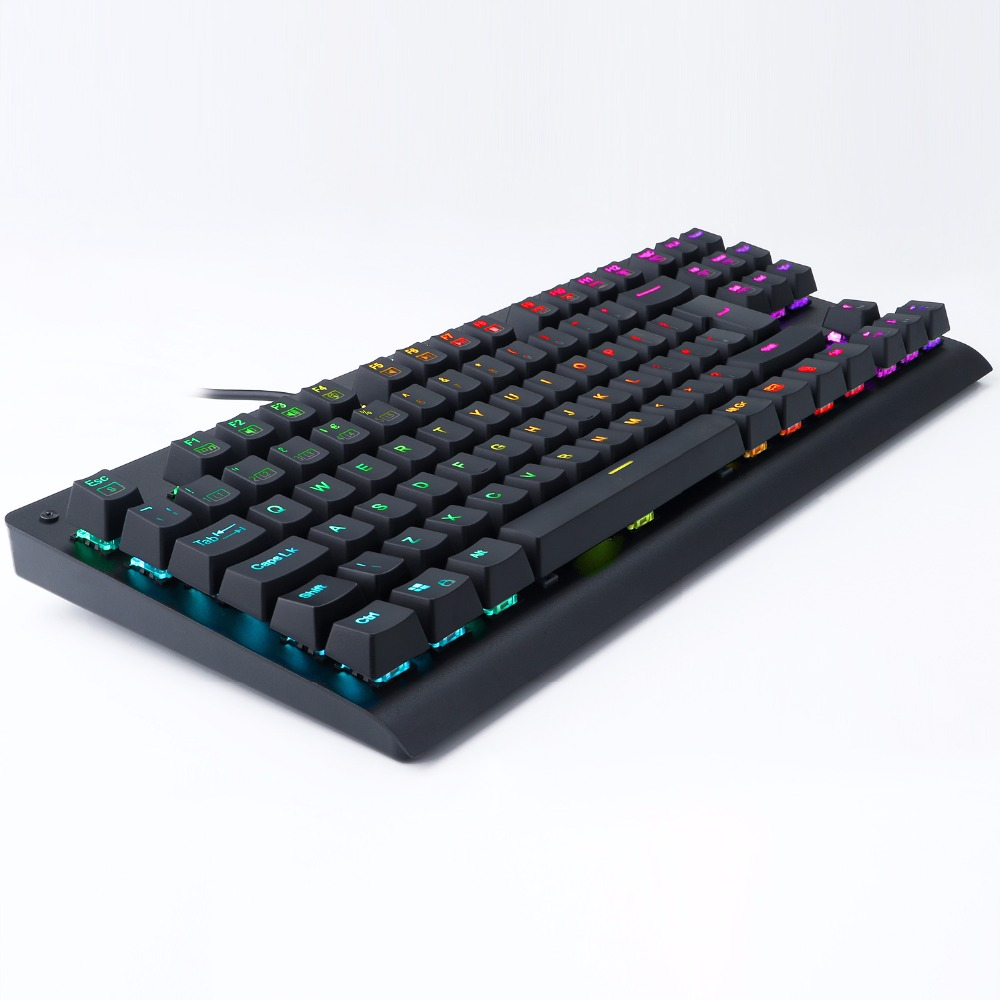 Z77 UK Layout Mechanical Gaming Keyboard TKL RGB Led Backlit Anti-Ghosting Gamer Keyboard 88 Keys Clicky Blue Switches