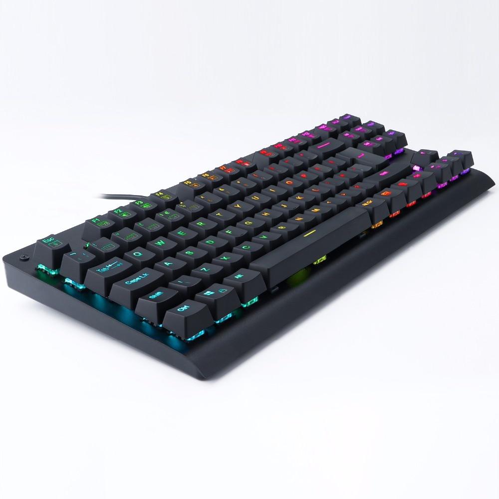 Z77 UK Layout Mechanical Gaming Keyboard TKL RGB Led Backlit Anti-Ghosting Gamer Keyboard 88 Keys Clicky Blue Switches