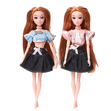1 PCS Handmade Fashion Outfit Cartoon Rabbit Tops and Denim Jean Dress Skirts For 30cm Doll, Xinyi Doll Clothes