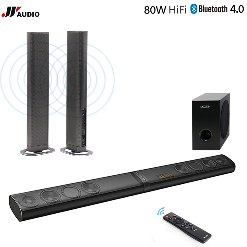 80W 3D Home Theater TV Soundbar Bluetooth Speakers Wireless Sound Bar Stereo LED TF Optical HDMI AUX Subwoofer Computer PC Phone