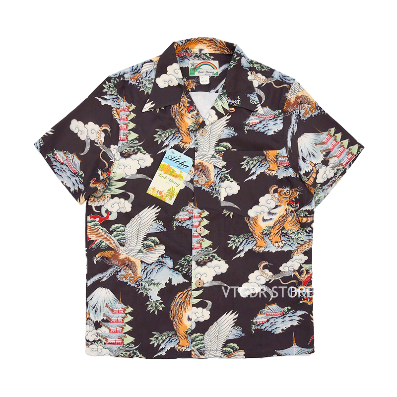 Bob dong 남자 빈티지 하와이 알로하 꽃 셔츠 후지산 드래곤 타이거 이글 패턴 하와이 비치 파티 크루즈 루아 셔츠-에서캐쥬얼 셔츠부터 남성 의류 의  그룹 1