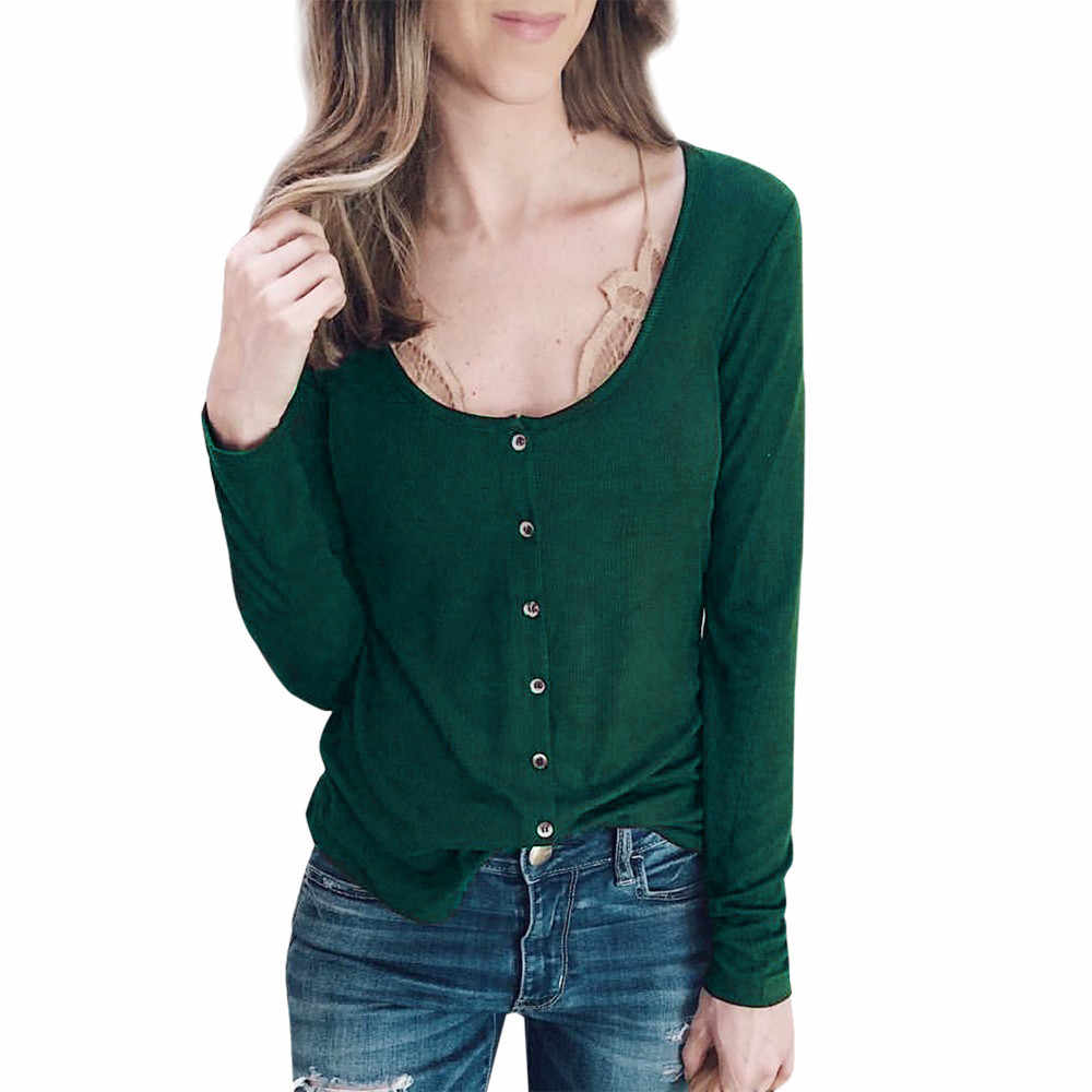 Womens Solid O-Neck Casual Button Solid Color Green Long Sleeves Tunic Tops T-Shirt Autumn Winter Girl's  Blusas Camisa T-Shirts
