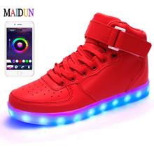 Men APP Remote Control USB High Top Luminous New LED Light Shoes Adults Unisex Lovers 7 Colors Flashing Casual Light Up Shoes