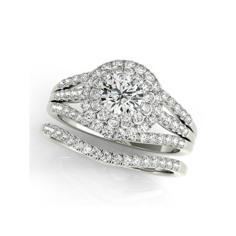 QYI conception Unique solide 925 bague en argent Sterling définit luxueux accessoires de mariage Sona bijoux de mariée anneaux pour les femmes