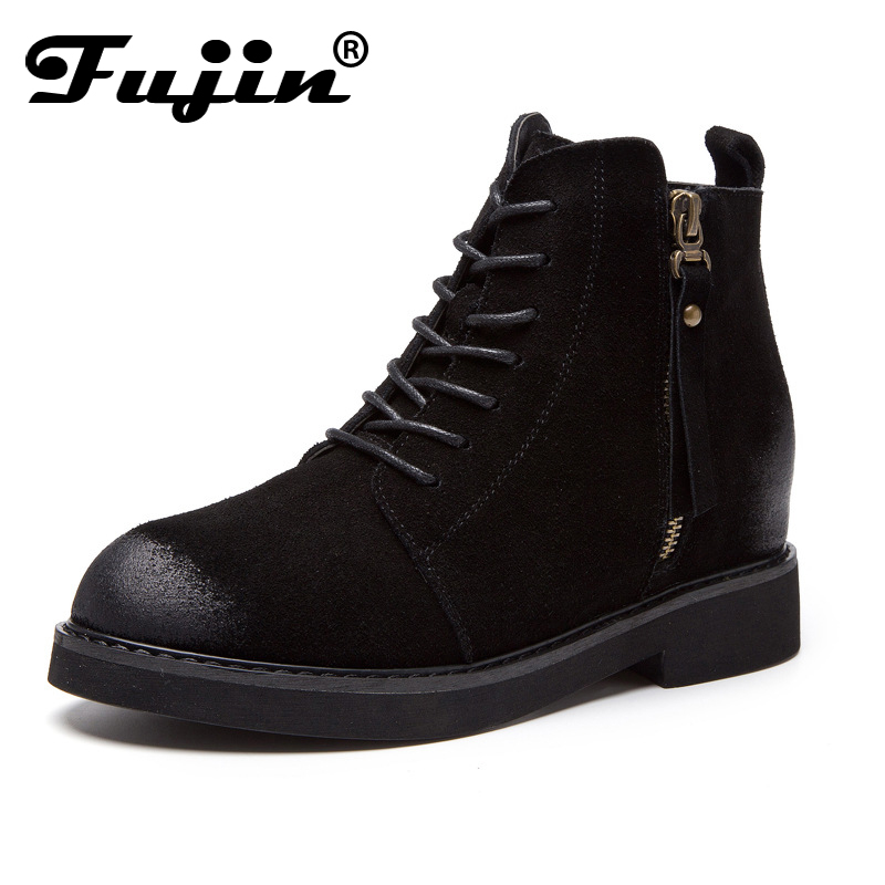 Fujin New Genuine Leather Shoes Women Ankle Boots Autumn Winter Thick High Heel Martin Boots Zip Handmade Leather Shoes Boot 2017 new genuine leather platform brand shoes increased thick extreme high heel women ankle boots solid classic zip chelsea boot