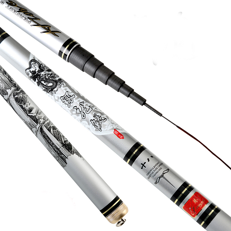 Carbon Stream Hand Fishing Pole 3.6m 4.5m 5.4m 6.3m 7.2m Ultra hard Telescopic Spinning Fishing Rod Freshwater Feeder Fishing