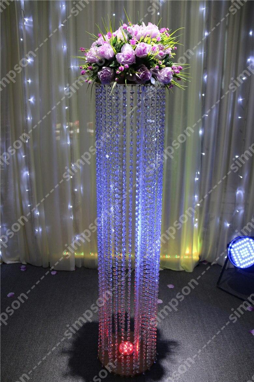 Livraison gratuite 10 pcs/lots Grand cristal acrylique 47 pouces de hauteur support de fleur route de plomb de mariage pour les décorations d'événement de fête de mariage