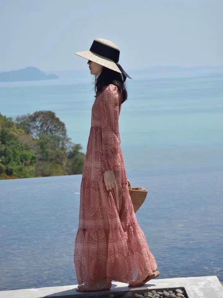 2019 femmes élégant Vintage imprimé longue robe Boho o-cou vacances robe d'été à manches longues cheville-longueur robe de plage - 3