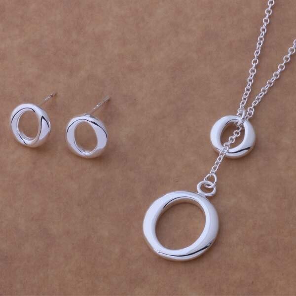 3f0770d24f7a25 AS098 Hot 925 sterling silver Jewelry Set Orecchini Collana 191 +  601/aecaivja akpajbwa