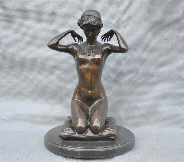 Statues of naked women, hairy nude flat chest